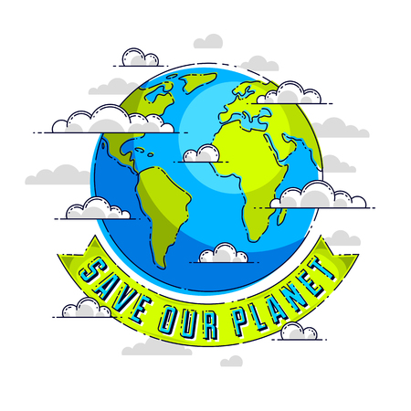 World international Earth Day concept, eco ecology, climate changes, Earth Day April 22, planet with ribbon and typing vector emblem or illustration isolated over white background. Иллюстрация