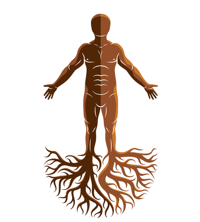 Vector human, individuality created with tree roots. Family tree, tree of life conceptual graphic illustration.