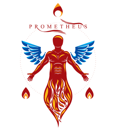 Vector illustration of athletic man composed with bird wings as freedom concept. Prometheus metaphor. 일러스트