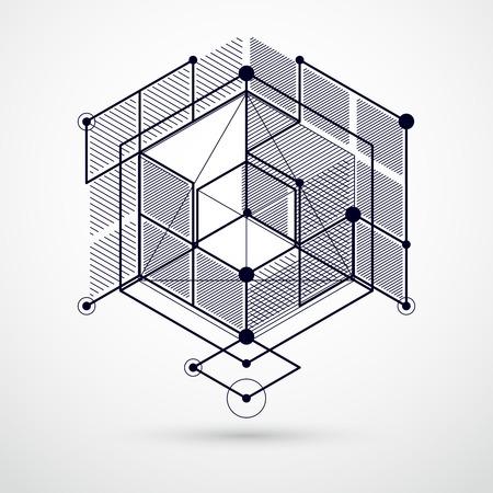 Lignes et formes abstrait vectoriel isométrique 3D fond noir et blanc. Schéma abstrait du moteur ou du mécanisme d'ingénierie. Disposition des cubes, hexagones, carrés, rectangles et différents éléments Vecteurs