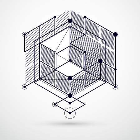 Lines and shapes abstract vector isometric 3D black and white background. Abstract scheme of engine or engineering mechanism. Layout of cubes, hexagons, squares, rectangles and different elements