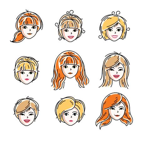 Conjunto de rostros de mujeres, cabezas humanas. Diferentes personajes vectoriales como hembras pelirrojas y rubias, colección de características de cara de mujeres atractivas. Ilustración de vector