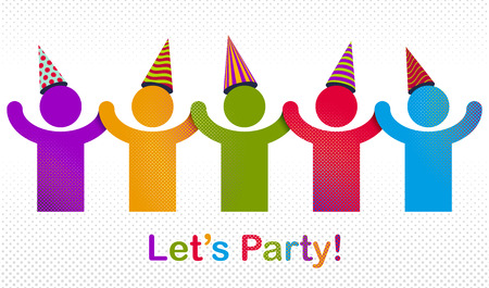 Celebrating people vector concept simple illustration or icon, celebration anniversary or holiday fun, group of cheerful happy people having fun at party. Illusztráció