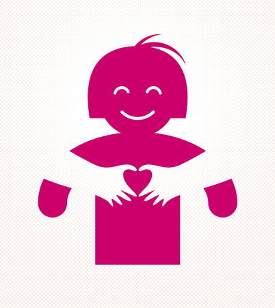 Love arms hugging lover shows heart shape gesture hands, lover woman hugging her mate and shares love, vector icon logo or illustration in simplistic symbolic style.