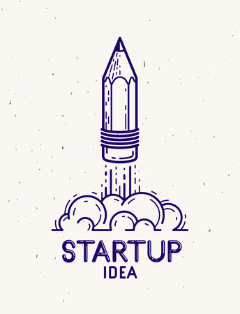 Pencil launching like a rocket start up, creative energy genius artist or designer, vector design and creativity logo or icon, art startup. Çizim