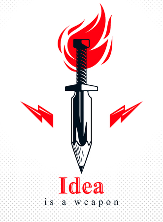 Idea is a weapon concept, weapon of a designer or artist allegory shown as sword with pencil instead of blade, creative power, vector logo or icon. Illusztráció