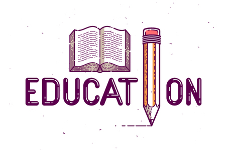 Education word with pencil instead of letter I and book, study and learning concept, vector conceptual creative logo or poster made with special font.