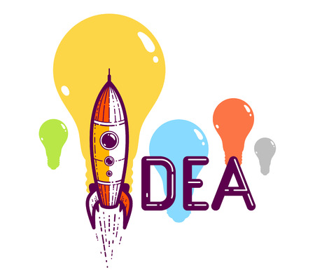 Idea word with rocket instead of letter I, creativity and brainstorm concept, vector conceptual creative logo or poster made with special font.