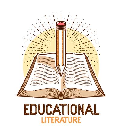 Libro d'epoca e educazione matita o concetto di conoscenza scientifica, logo o emblema vettoriale della biblioteca di letteratura educativa o scientifica.