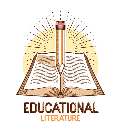 Vintage book and pencil education or science knowledge concept, educational or scientific literature library vector logo or emblem.