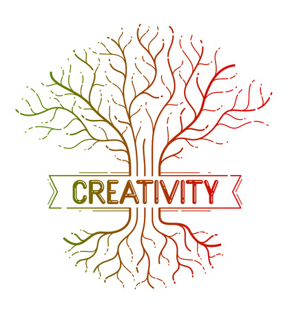 Creativity concept shown with colorful tree vector linear style icon or logo drawing. Illustration