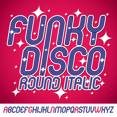 Vector art funky italic type font with parallel lines, can be used in retro poster design as karaoke party advertising.