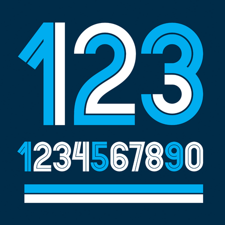 Set of vector numbers made with white lines, can be used for logo creation in public relations business.