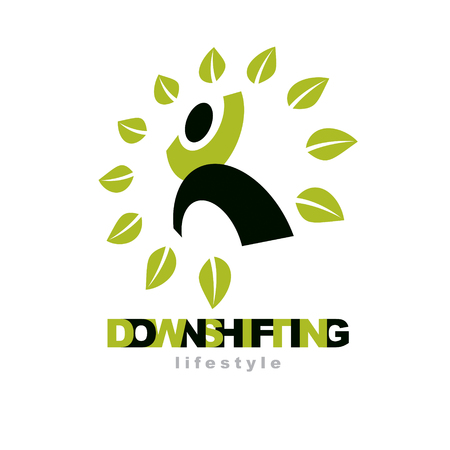 Vector illustration of excited abstract  man with raised reaching up. Downshifting concept logo. Vegetarian theme symbol. Green ecology metaphor.