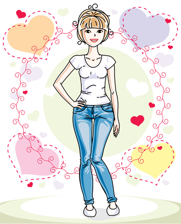 Young beautiful blonde woman standing on colorful backdrop with romantic hearts and wearing casual clothes. Vector character. Stock Illustratie