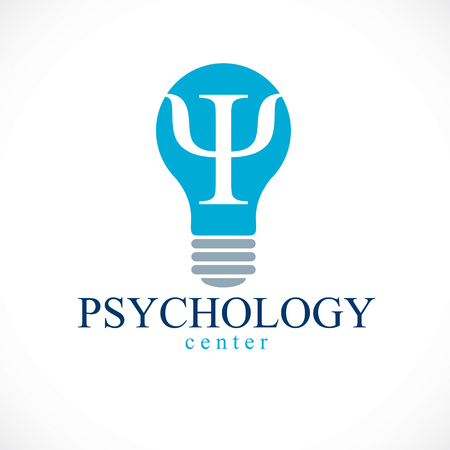 Psychology vector logo or icon with ancient Greek Psi symbol inside of idea light bulb. Illustration