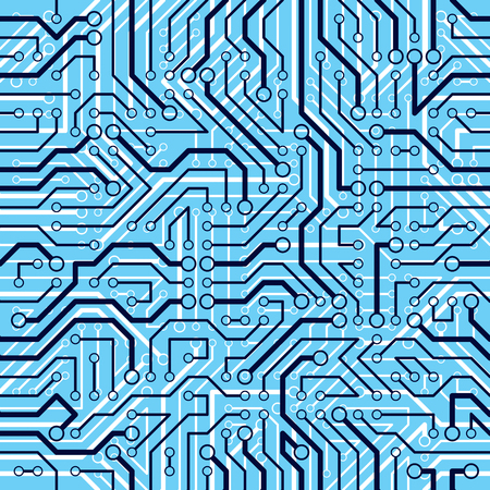 Circuit board seamless pattern, vector background. Microchip technology electronics wallpaper repeat design.