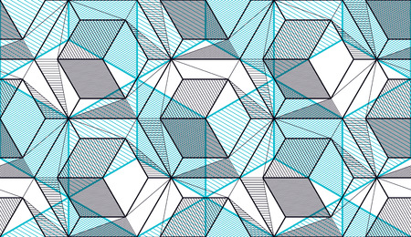 Geometric cubes abstract seamless pattern, 3d vector background. Technology style engineering line drawing endless illustration. Usable for fabric, wallpaper, wrapping, web and print. Ilustração