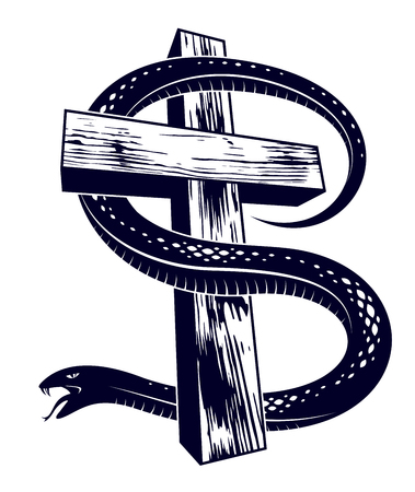 Serpent on a Cross vintage tattoo, snake wraps around Christian cross, God and Devil allegory, the struggle between good and evil, symbolic vector illustration logo or emblem. Çizim