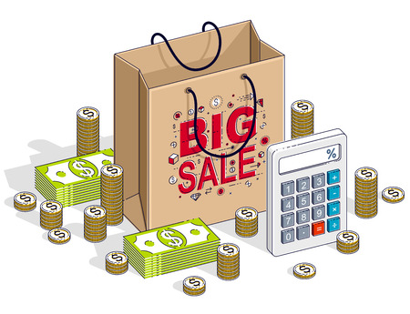 Big Sale concept, Retail, Sellout, Shopping Bag with cash money stacks and calculator isolated on white background. Vector 3d isometric business and finance illustration, thin line design. Stock Illustratie