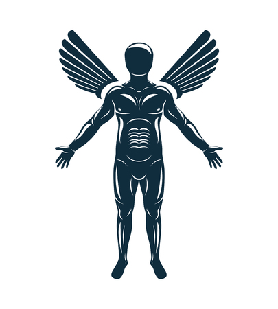 Vector graphic illustration of human, individuality created with bird wings. Guardian angel metaphor. 向量圖像