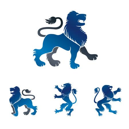 Lion ancient emblems elements set. Heraldic vector design elements collection. Retro style label, heraldry logo.