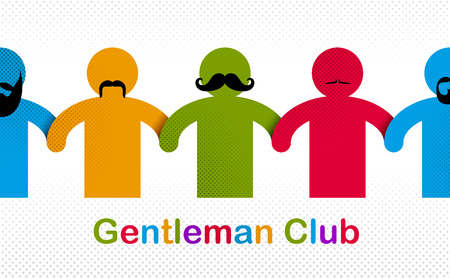 Man day international holiday, gentleman club, male solidarity concept vector illustration icon or greeting card. 向量圖像