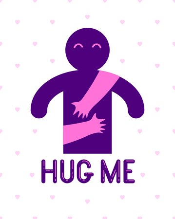 Beloved man with care hands of a lover woman hugging and caresses his chest, vector icon logo or illustration in simplistic symbolic style.
