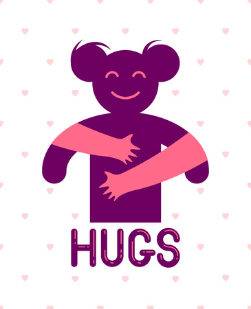 Beloved woman with care hands of a lover or friend hugging her around from behind, vector icon logo or illustration in simplistic symbolic style. Illustration