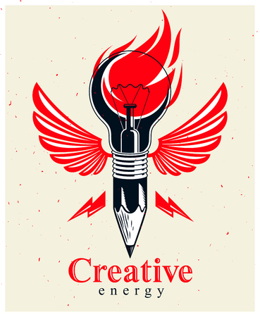 Pencil with idea light bulb combined into symbol with wings, creative energy design art or science invention or research vector logo or icon.