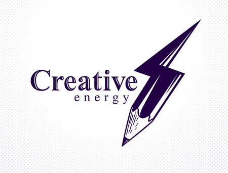 Creative energy power concept shown by pencil in a shape of lightning bolt, vector logo or icon, the power of idea, design and art, science invention or research.