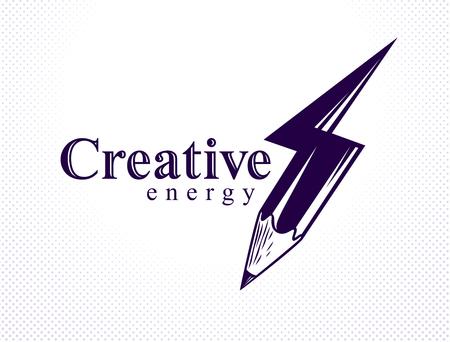 Kreatywna koncepcja mocy energii pokazana ołówkiem w kształcie błyskawicy, logo wektorowego lub ikony, moc pomysłu, projektowania i sztuki, wynalazku naukowego lub badań.