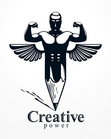 Uomo muscoloso uomo forte combinato con matita e ali in un simbolo, concetto di design forte, allegoria del potere creativo, logo o icona in stile classico perfetto vettoriale.