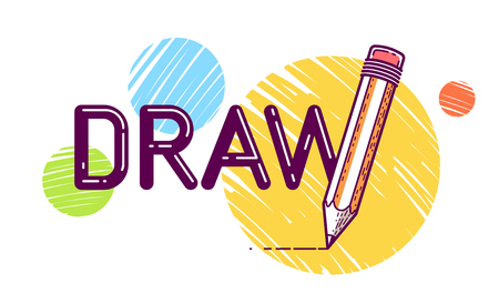 Draw word with pencil in letter W, art and design concept, vector conceptual creative logo or poster made with special font.