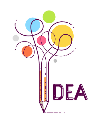 Idea word with pencil instead of letter I, creativity and brainstorm concept, vector conceptual creative logo or poster made with special font.