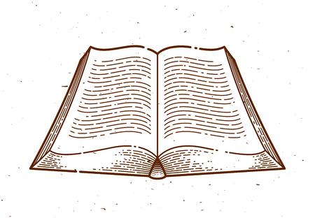 Vintage open book vector graphic design element, logo or icon or emblem trendy linear style. Ilustração