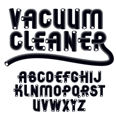 Vector capital modern alphabet letters set. Trendy rounded font, script from a to z can be used in art  poster creation. Created with hosepipe style, plumbing. Illusztráció