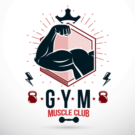 Graphic vector sign created with strong athlete biceps arm, royal crown and kettle bell sport equipment. Bodybuilding weightlifting gym emblem, sport club Illustration