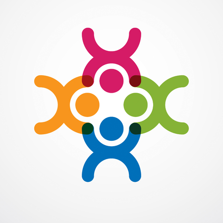 Teamwork businessman unity and cooperation concept created with simple geometric elements as a people crew. Vector icon or logo. Friendship dream team, united crew colorful design.