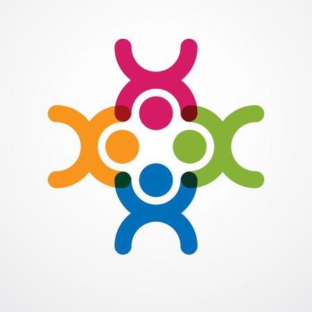Teamwork-Geschäftsmanneinheit und Zusammenarbeitskonzept geschaffen mit einfachen geometrischen Elementen als Leutecrew. Vektor Icon oder Logo. Freundschaftstraumteam, bunter Entwurf der vereinigten Mannschaft.
