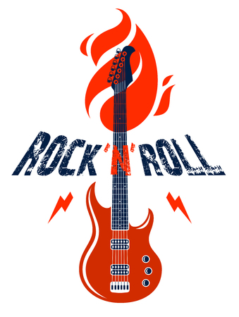 Rock and Roll emblem with electric guitar vector logo, concert festival or night club label, music theme illustration, guitar shop or t-shirt print, rock band sign with stylish typography. Ilustracja
