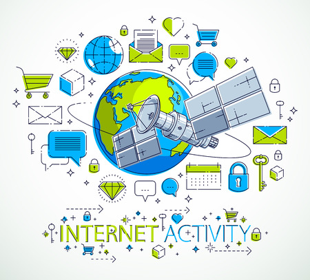 Planeta tierra y satélite con vuelo orbital con conjunto de iconos, actividad en Internet, pagos en línea, concepto de negocio electrónico, mercado o tienda, diseño vectorial. Ilustración de vector