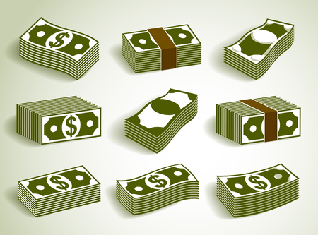 Cash money dollar banknote stack vector simplistic illustration set icon or logo collection, business and finance theme, income taxes revenue prize. Illustration