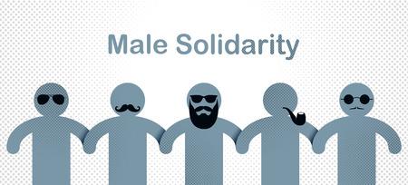 Man day international holiday, gentleman club, male solidarity concept 일러스트