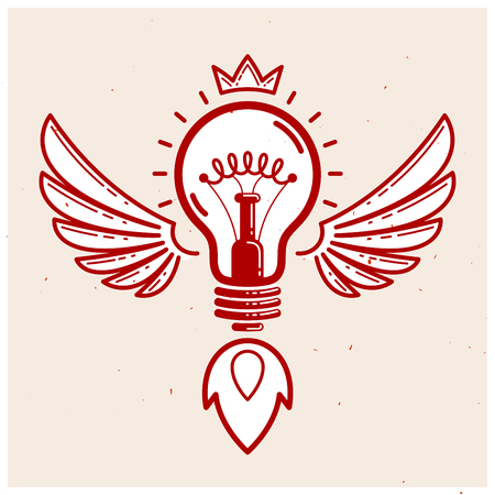 Idea light bulb with wings launching like a rocket