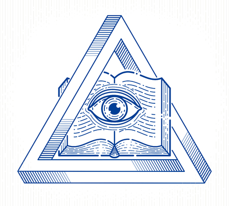 Secret knowledge vintage open book with all seeing eye of god in sacred geometry triangle