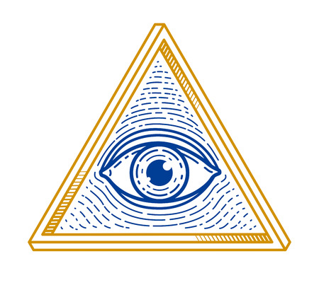 All seeing eye of god in sacred geometry triangle Illustration