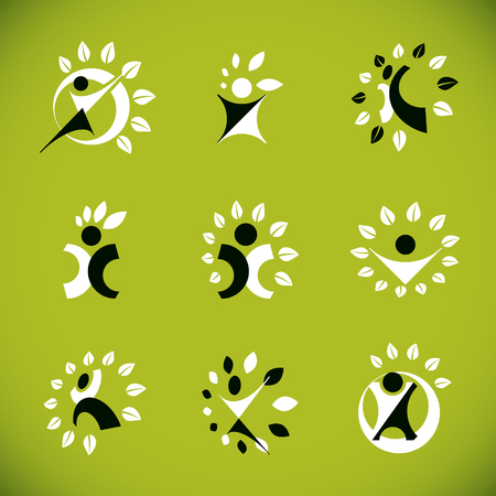 Collection of happy abstract human with raised hands up. Phytotherapy metaphor, vector graphic emblem.