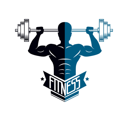 Bodybuilding weightlifting gym logotype sport club, retro style vector emblem.