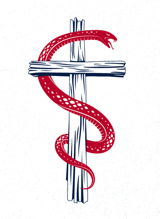 Snake wraps around Christian cross, the struggle between good and evil